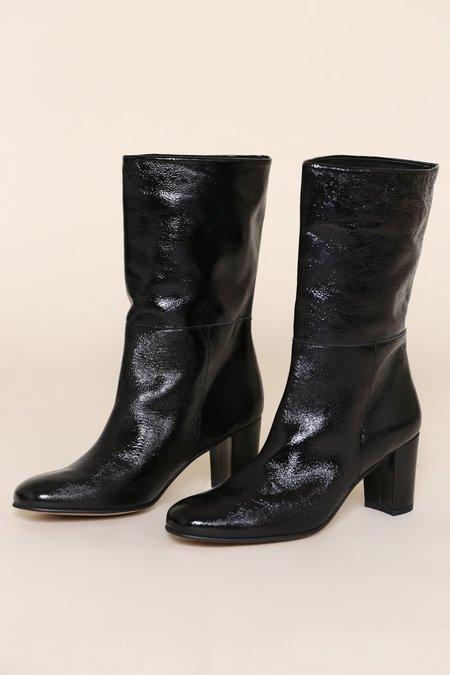 """INTENTIONALLY __________."" Pammy Patent Boots - Black"