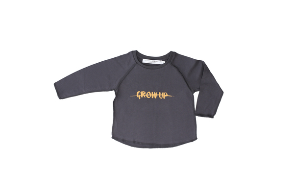 Les Petites Choses Charcoal Grey Don't Grow Up Long-Sleeve Tee - Coucou Boston