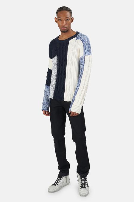 Pierre Balmain Knit Patchwork Sweater - Mixed Blues