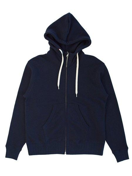 Velva Sheen Made In Japan Loopwheeler Zip Hoodie - Navy