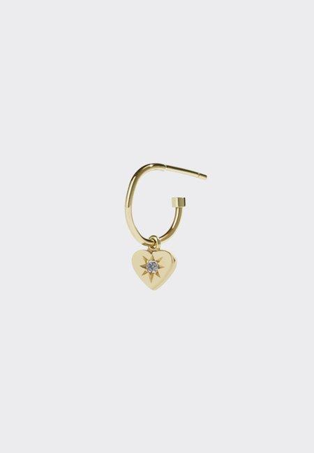 Meadowlark Diamond Heart Signature Hoop - gold/white diamond