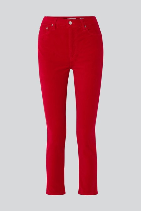 RE/DONE Velvet High Rise Ankle Crop PANT - RED