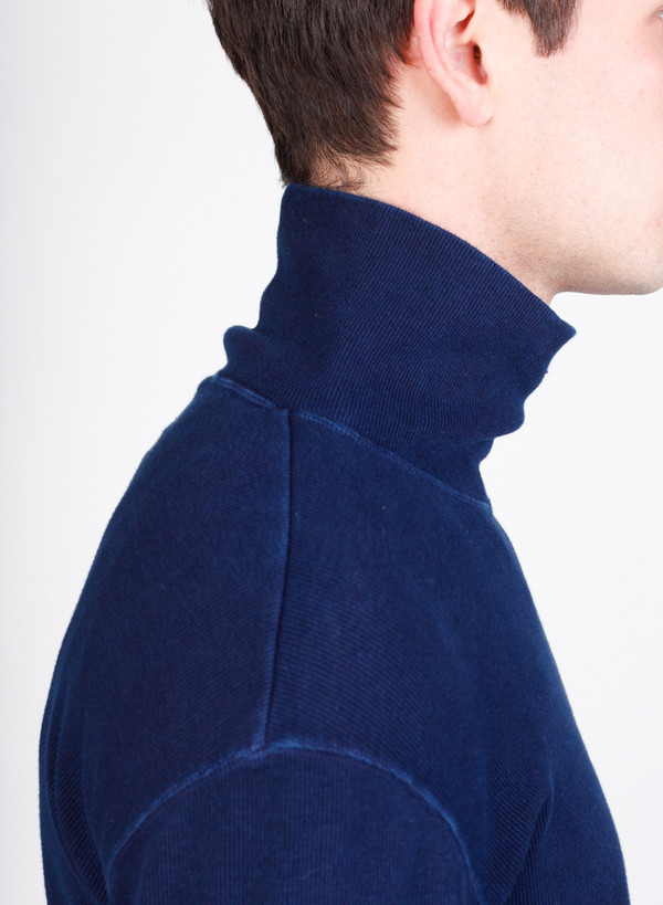 Blue Blue Japan Indigo Hand Dyed Slub Cotton Rib Turtleneck Tee