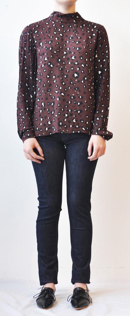 "Just Female ""Hackett"" Leopard Print Blouse w/ Back Detail"
