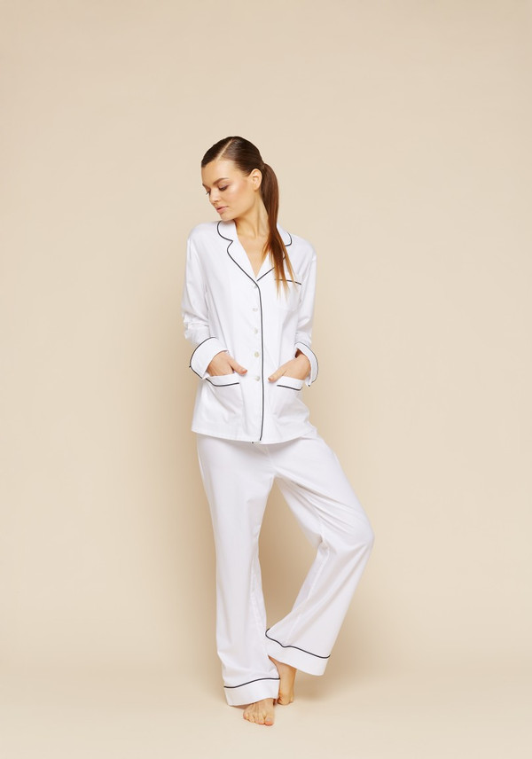 Olivia Von Halle Cotton Contrast Trim Pyjama Set