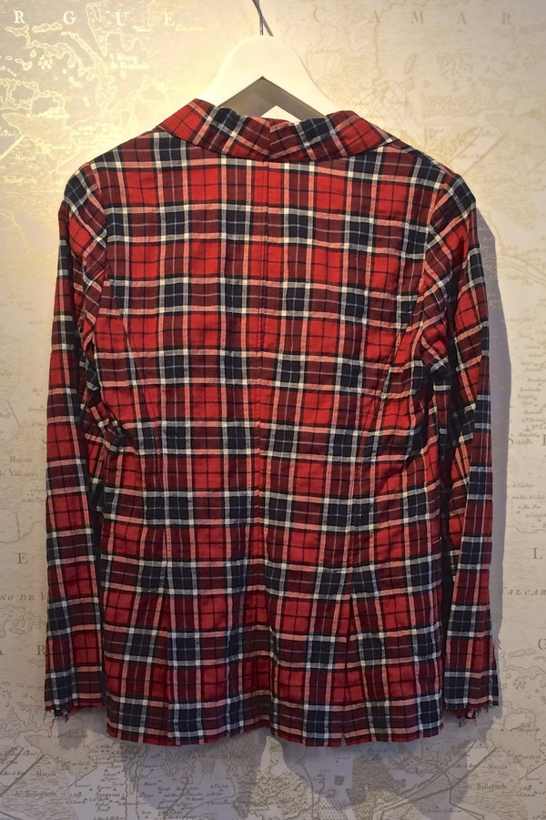 Harvey Faircloth Red Plaid Blazer w/ Peplum