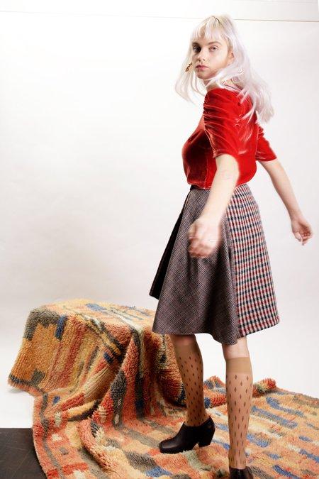 Kurt Lyle Tillary Skirt - Red/Brown Check