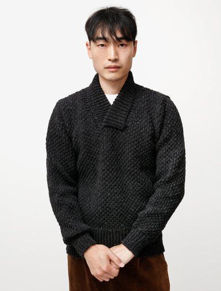 Frank Leder Hand Knit Shawl Collar Sweater - charcoal