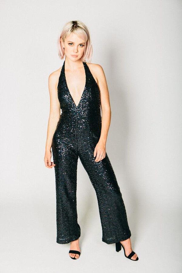Any Old Iron Black Sequin 54 Jumpsuit