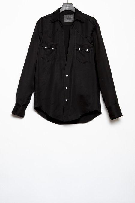The Letters Rayon Twill Western Cutting Shirt - Black