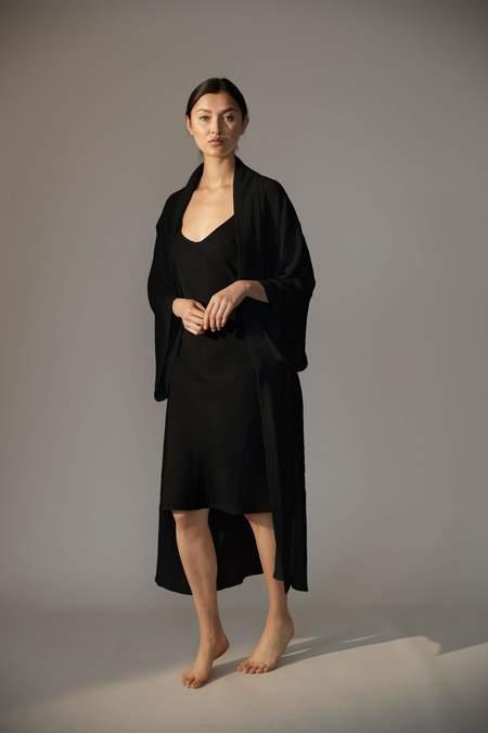 Laing Home Reed Cotton Kimono Robe - Black