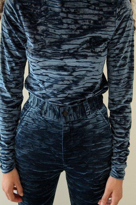 Kk Co Studio Crushed Velvet Flare Pant - Sapphire