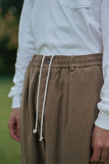 Universal Works Cord Pleated Track Pant - Taupe