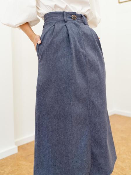Laude The Label Pleated Denim Skirt - Indigo