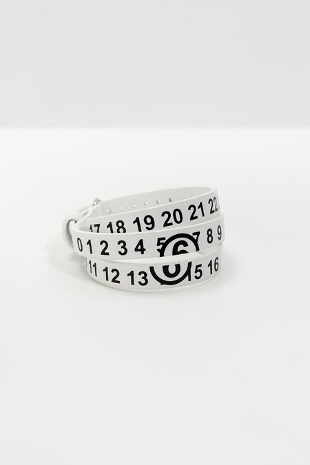 MM6 Maison Margiela Logo Leather Bracelet - White