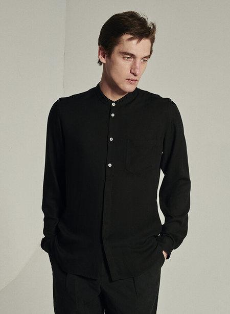 Delikatessen Stand Up Collar Italian Cotton and Tencel Shirt - Black