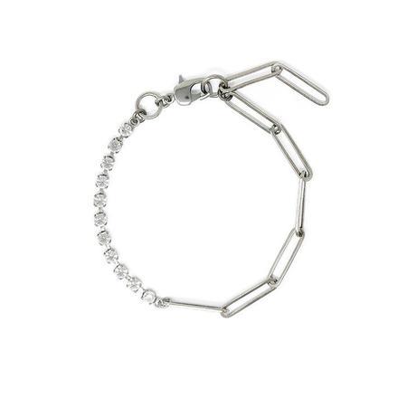 Joomi Lim Asymmetrical Chain & Crystal Anklet - Rhodium