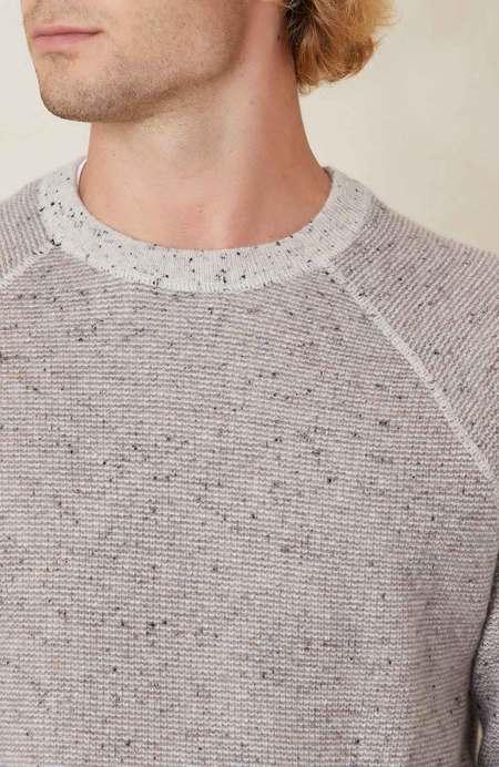 RON HERMAN Reversible 2 Color Textured Cashmere Crew - Pebble/Mulch
