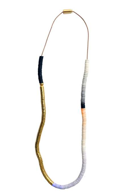 JULIE THÉVENOT Gradient chunky tricolor Isiand necklace - Gold plated