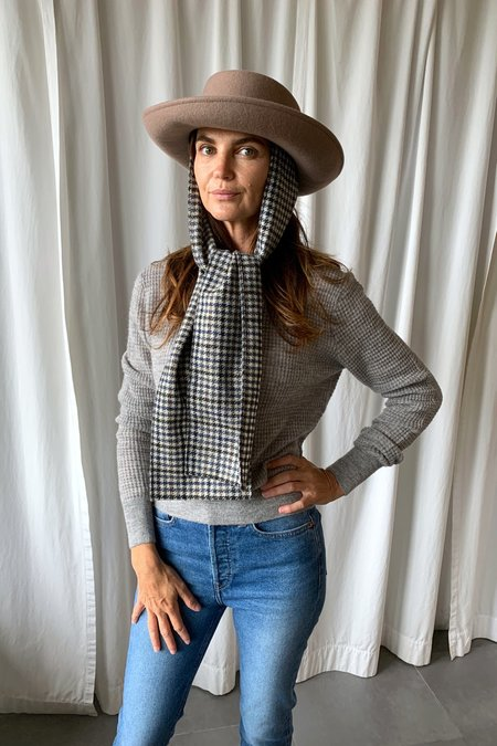 Clyde Gambler Hat with Tweed Scarve - Taupe