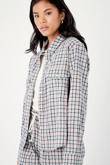 BACK BEAT RAGS Organic Cotton Plaid Shirt Jacket - Blue Plaid