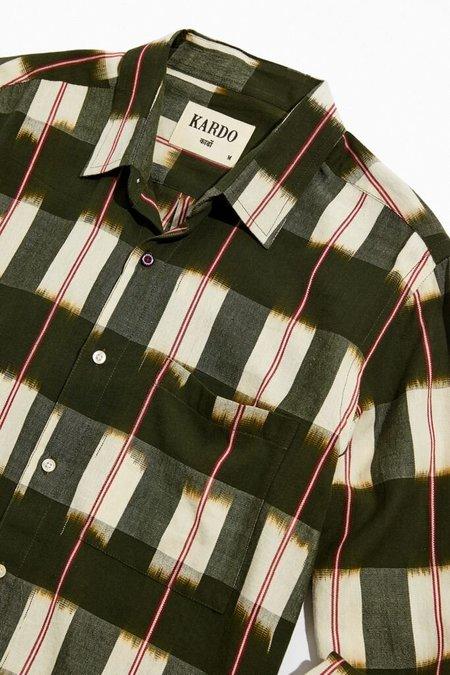 Kardo Ryan Handwoven Ikat Shirt - Green/Beige/Red