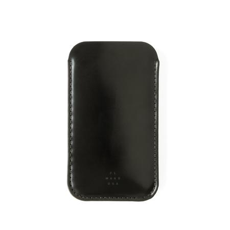 UNISEX MAKR Cordovan iPhone Sleeve Case - Black Horween