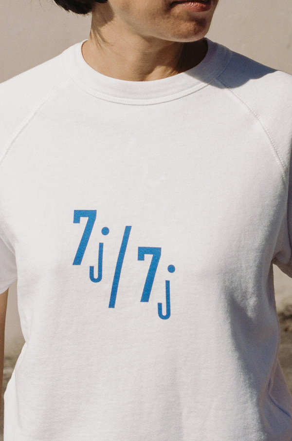 Clare V Short Sleeve Sweatshirt- white with royal blue