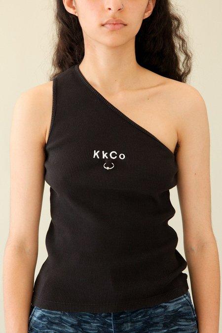 Kk Co Studio Pierced One Shoulder Rib Tank - Black