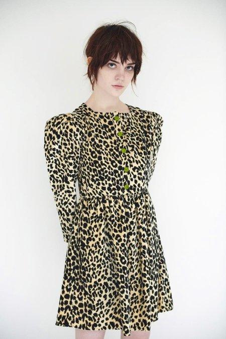 Batsheva Crystal Button Velvet Mini Dress - Leopard