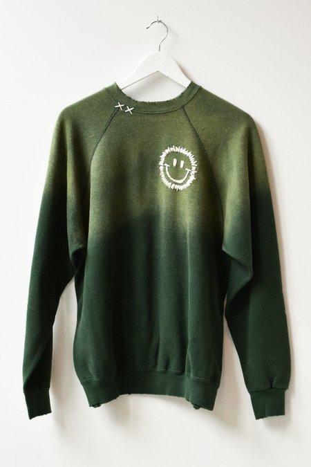 I Stole My Boyfriend's Shirt Happy Face Vintage Sweatshirt - Green/White