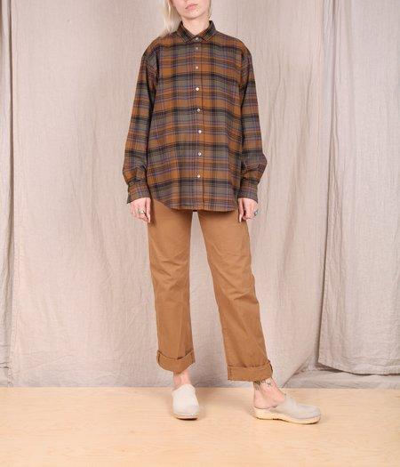 Hartford Charlot Flannel Button Down - NUT/ARMY/PURPLE PLAID
