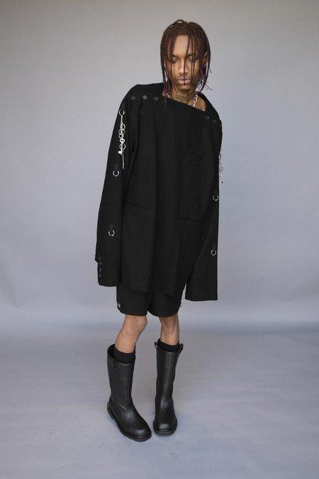 TAKAHIROMIYASHITA The Soloist. Wool Flannel Boat Neck Medical Jacket - Black