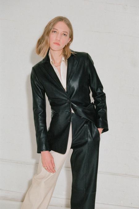 VEDA Morris Leather Blazer - Black