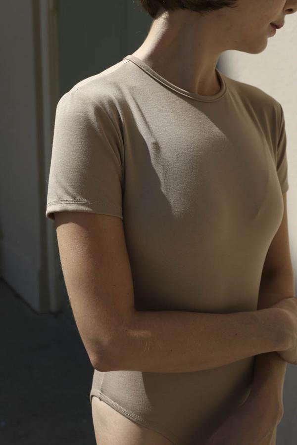 Maryam Nassir Zadeh Lara T-Shirt Leotard in Tan