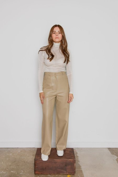 Courgette Vegan Leather Pant - Beige