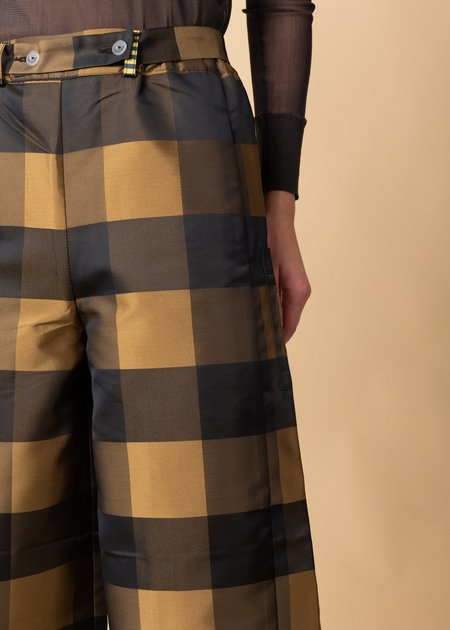 Echappees Belles Jabot Trouser - Black Check/Gold Check