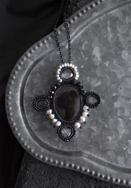 Jacki Holland Amber, Silver Sheen Obsidian, and Pearl Beadwork Necklace
