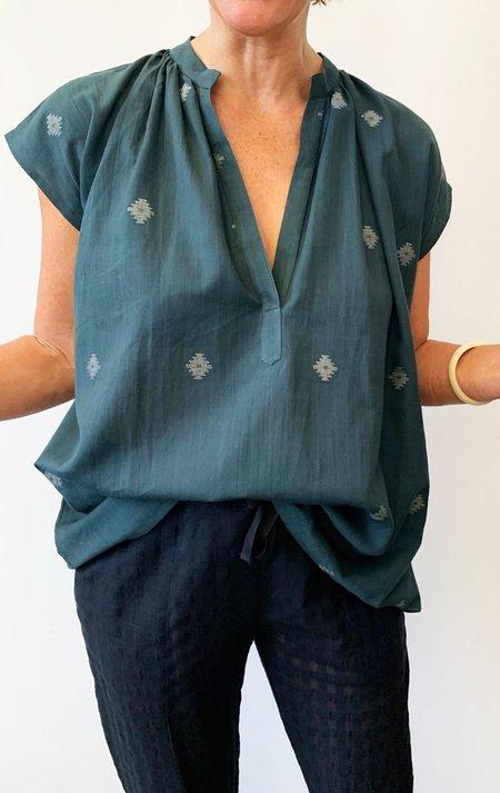Two Khadi Metallic Shirt - Teal