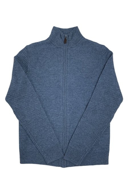 Trumbull Rhodes TR Textured Full Zip Sweater - Blue