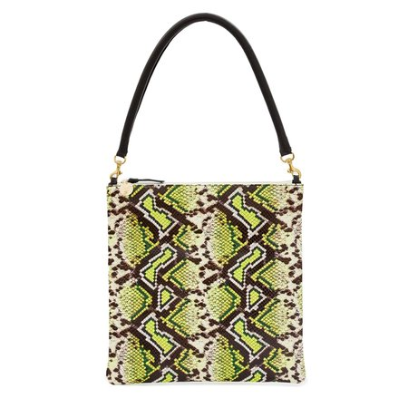 Clare V. Foldover Clutch with Tabs - yellow riveria snake