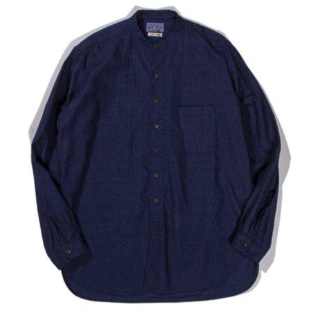 Blue Blue Japan Yarn Dyed Flannel Band Collar Button Up Shirt - Indigo