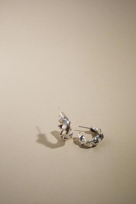 Mars Catana Scrunch Hoops Earrings - Silver