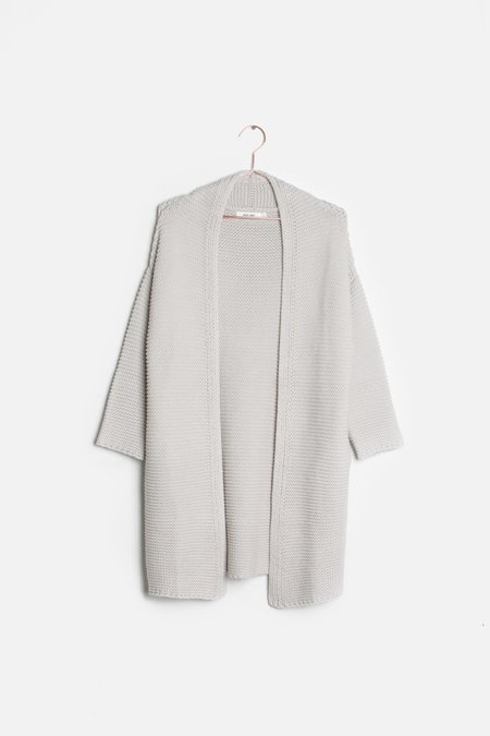 Mabel and Moss Delilah Cardigan Minimalist - Light taupe gray