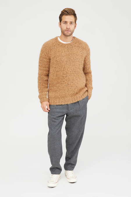 Presidents Hand Knitted Alpaca Crew Neck Sweater - Brown