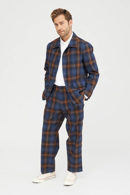 TSS OMBRE PLAID WOOL NATURAL TAPERED PANTS - NAVY