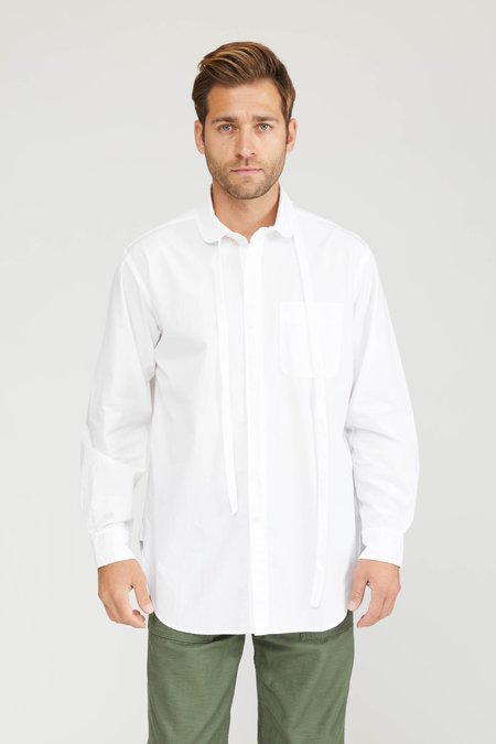 Engineered Garments 100's 2ply Broadcloth  Rounded Collar Shirt - White