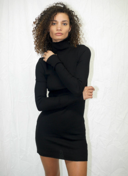 The Range Stark Waffle Knit Turtleneck Dress - Jet Black