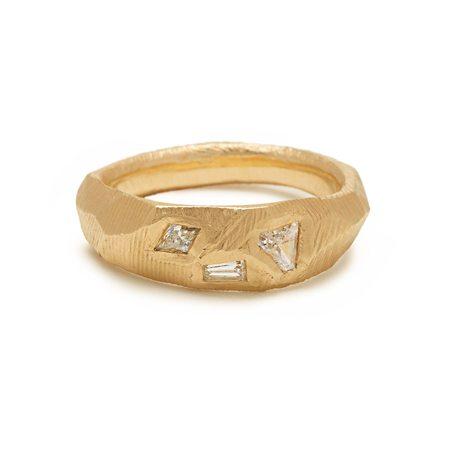 PAGE SARGISSON 18K Geometric 3 Diamond Ring - 18kt gold