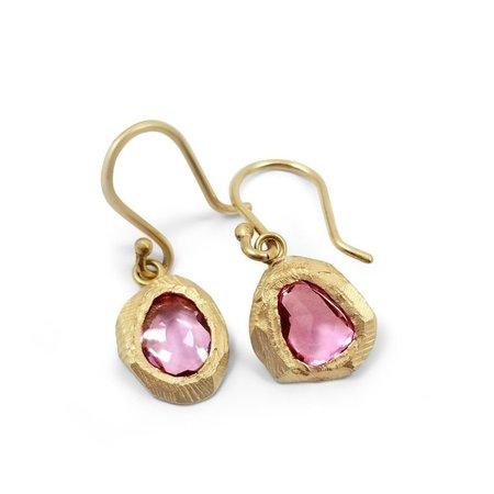 18K Pink Sapphire Drop Earring - 18 karat yellow gold